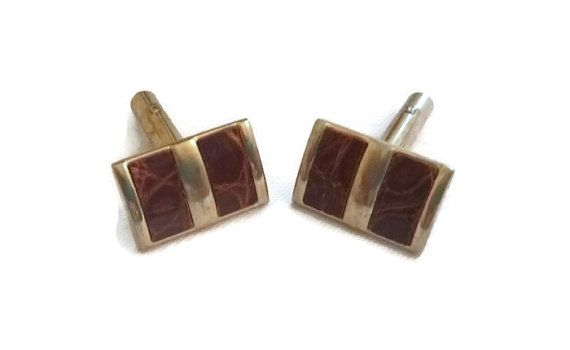 50's Brown Leather Cuff Links Mid Century Classy Cufflinks Mens 1950s Vintage Wedding Jewelry 60s Mad Men Suit Accessory Gift for Man