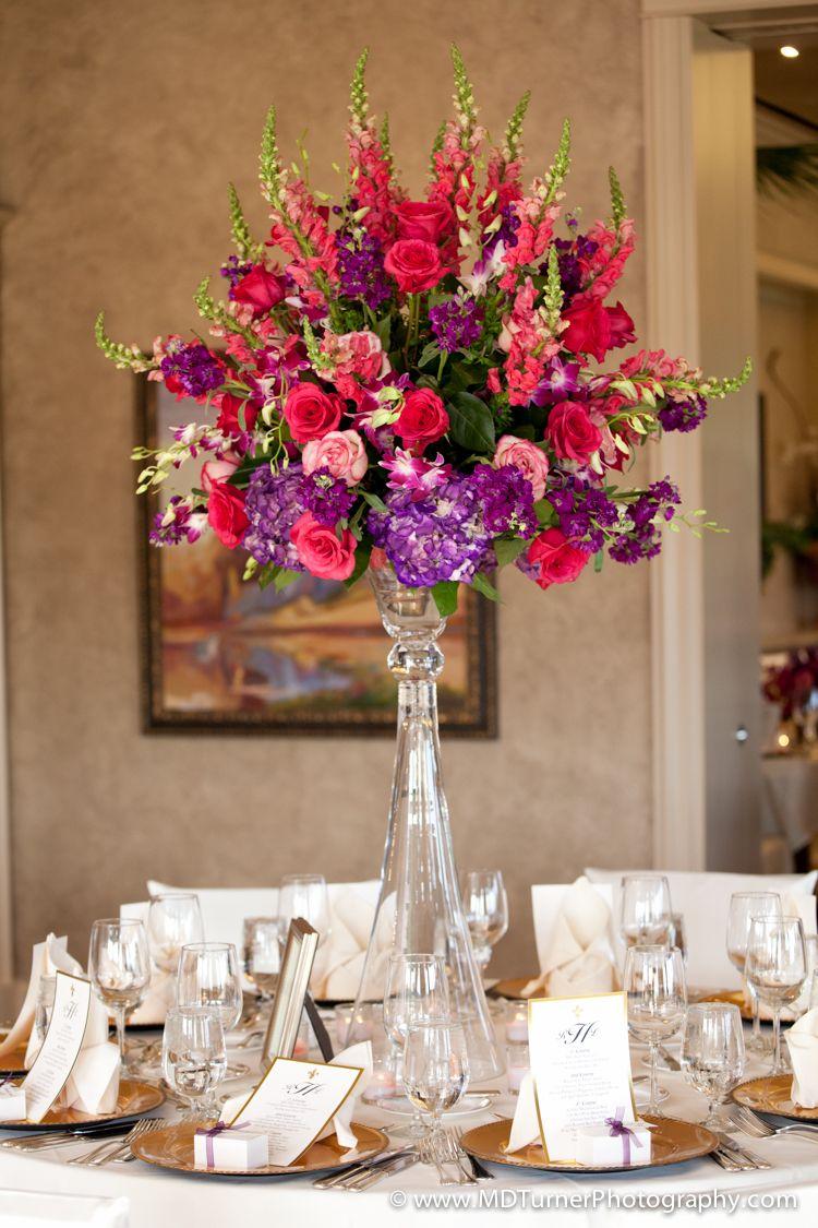 Bright Tall Fl Centerpiece Houston Wedding Photography Md Turner