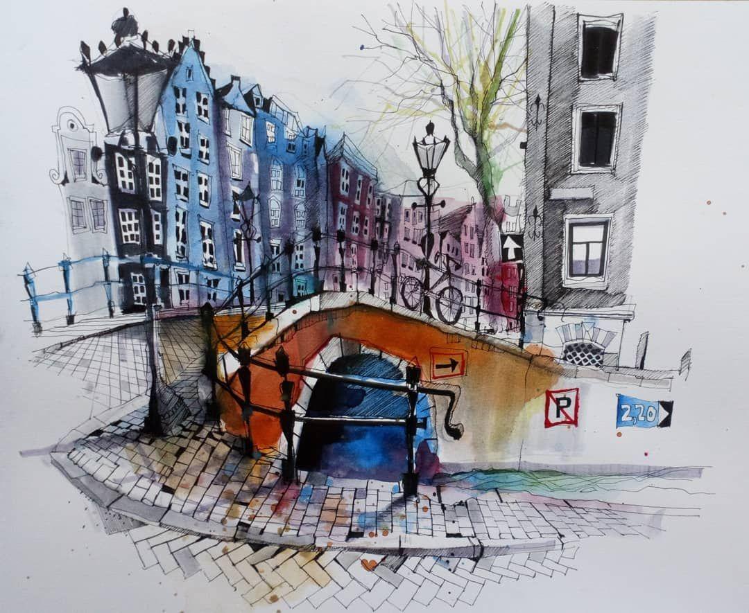 Amsterdam Prinsengracht Drawing Urbansketch Usk Instagramart