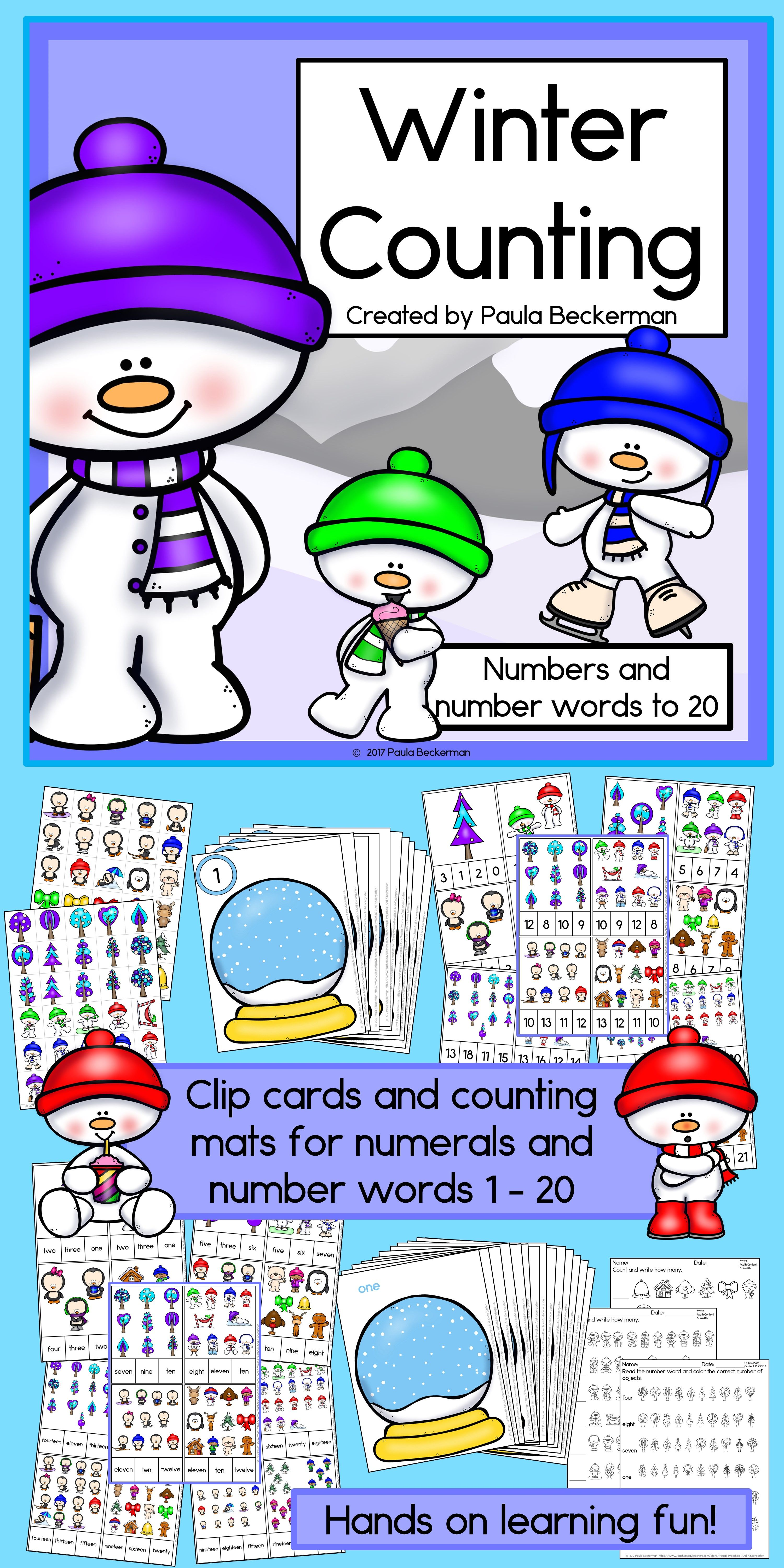 Winter Counting Numerals And Number Words 1 To 20