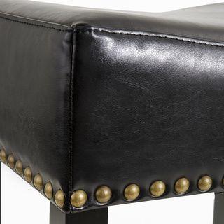 Christopher Knight Home Louigi Black Backless Leather Barstools (Set of 2) | Overstock.com