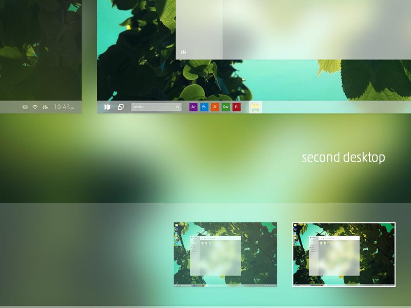 Multi Desktop - windows 10 concept by @crtivo on @dribbble https://dribbble.com/shots/1853636-Multi-Desktop-windows-10-concept  #design #dribbble #windows @microsoft #ux #ui #app