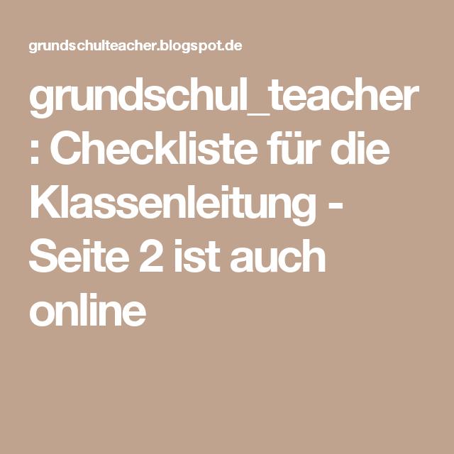 grundschul_teacher        : Checkliste für die Klassenleitung - Seite 2 ist auch online