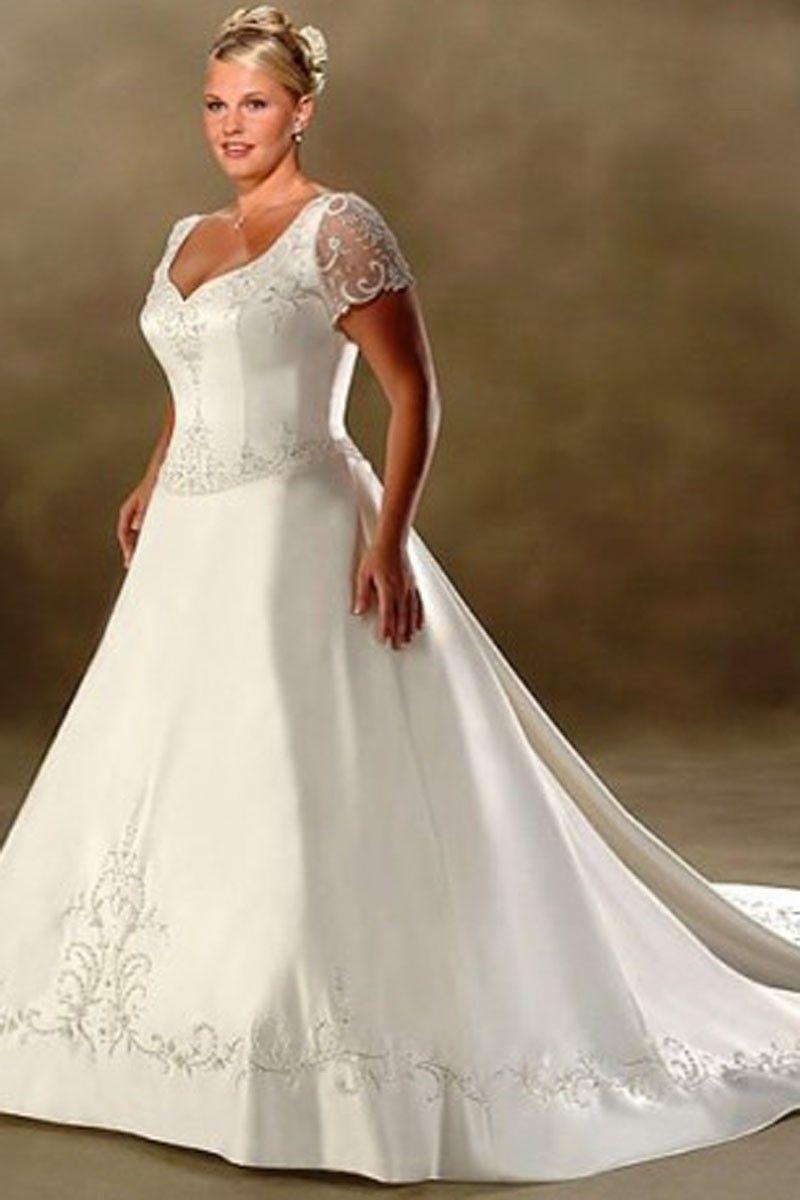 Aline vneck chapel train short satin plus size wedding dress for