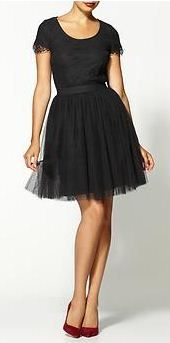 tulle dress + red heels.