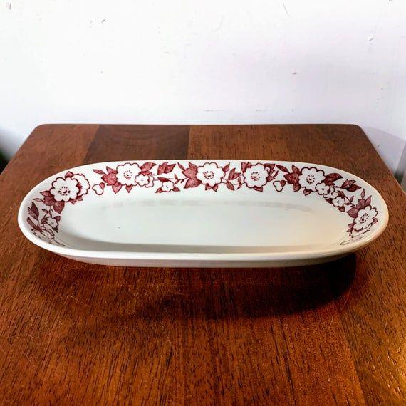 Vintage Wellsville China Floret Restaurant Ware Relish Dish #dishware
