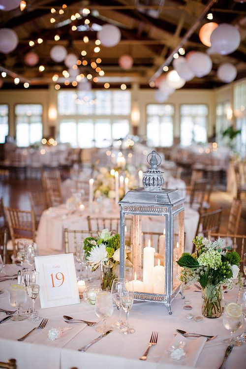 48 amazing lantern wedding centerpiece ideas pinterest white centerpiece type 3 two very small white flower arrangements with greenery in clear vases mightylinksfo