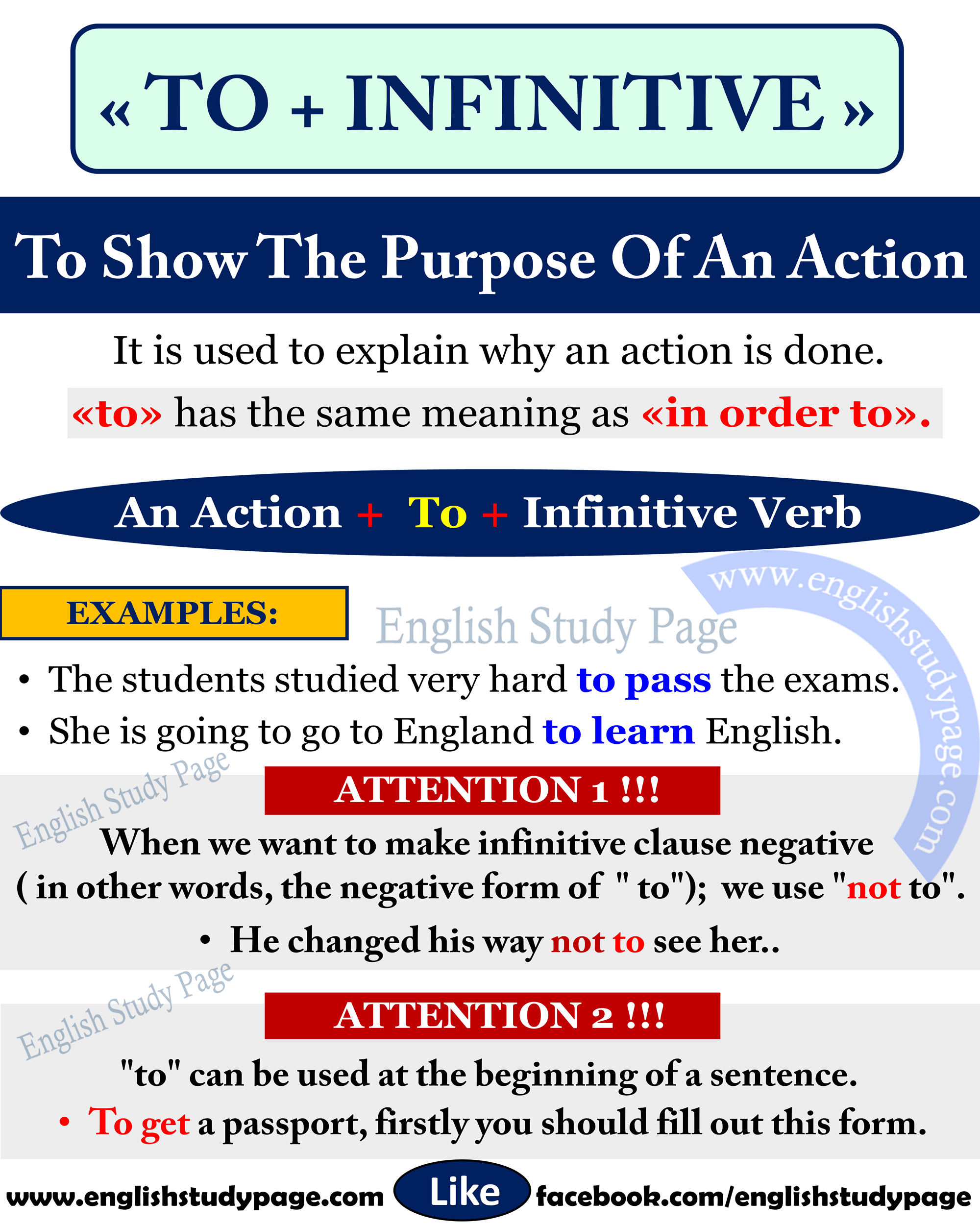 Using To Infinitive To Show The Purpose In English