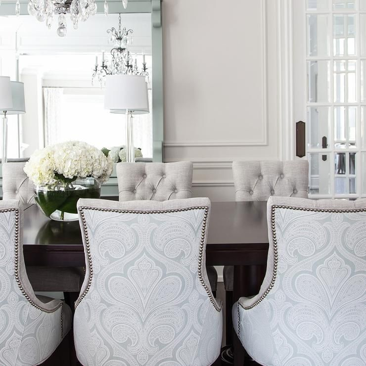 Damask dining chairs  Dining Rooms  Dining room lamps
