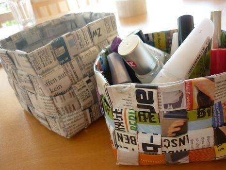 woven newspaper basket