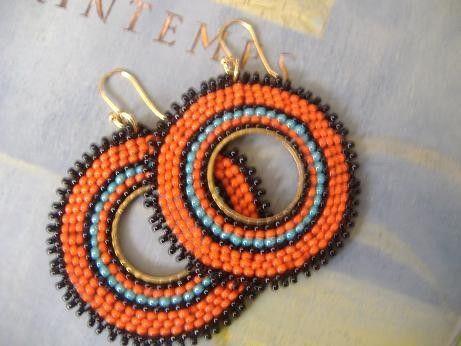 Beaded Hoop Earrings - Orange Sunburst