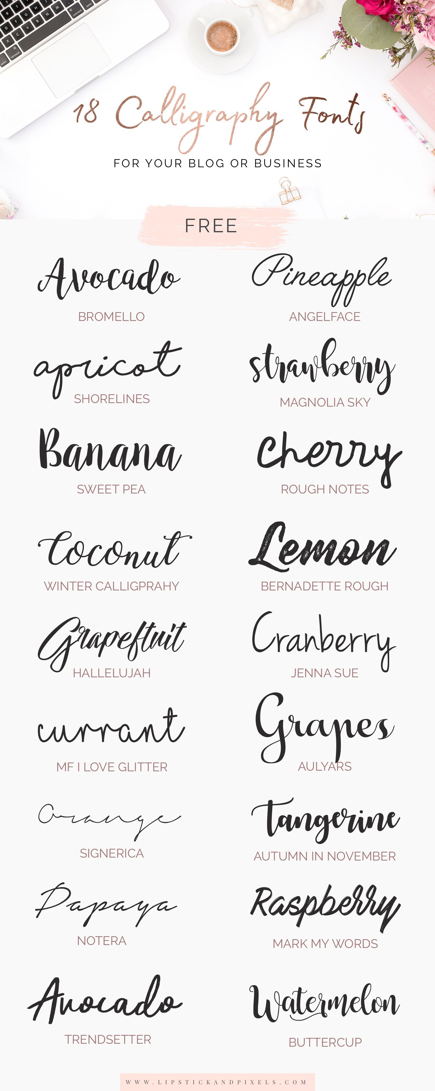 18 free calligraphy fonts for your blog or business Pinterest calligraphy