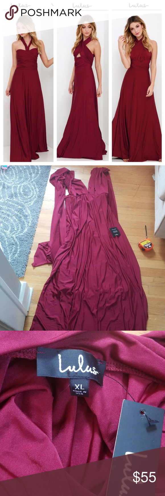 d6ff39e5ecf Lulu s always stunning convertible maxi burgundy Never worn dress from lulus  that can be worn many different ways (halter