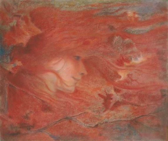 """Lucien Lévy-Dhurmer (French 1865 - 1953), """"Gust of Wind"""", Pastel on Paper. (Enlarge)"""