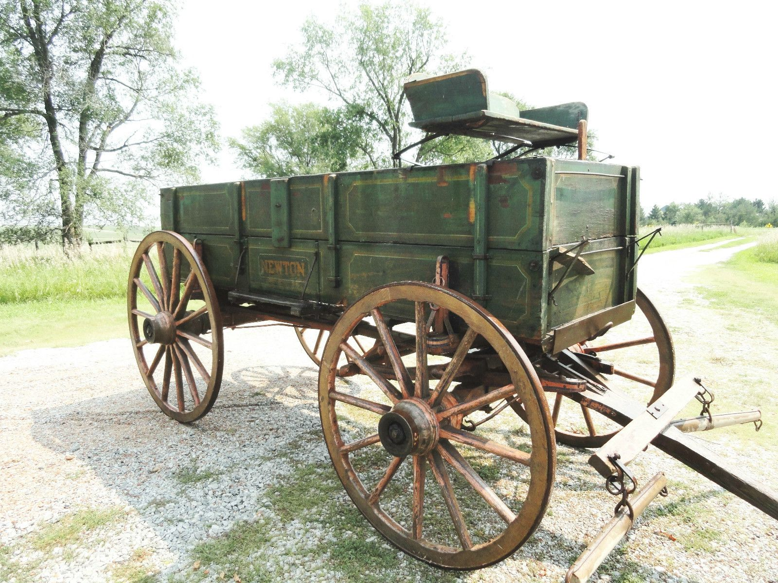 Antique Newton Horse Drawn Wagon Original Stencil Solid Useable Triple Box  Wood  Ebay