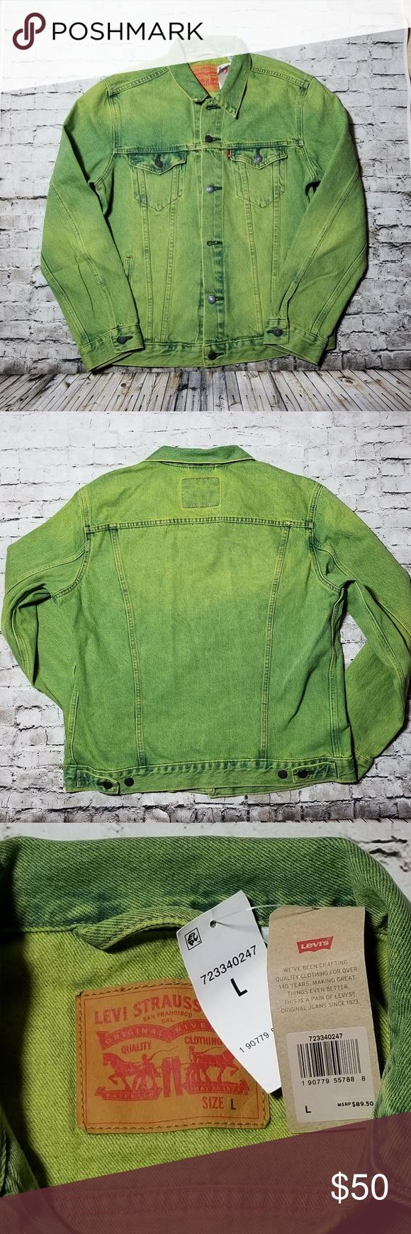 Levis Trucker Button Front Jean Jacket Green Large Button Front Jeans Levi Green Jacket [ 1740 x 580 Pixel ]