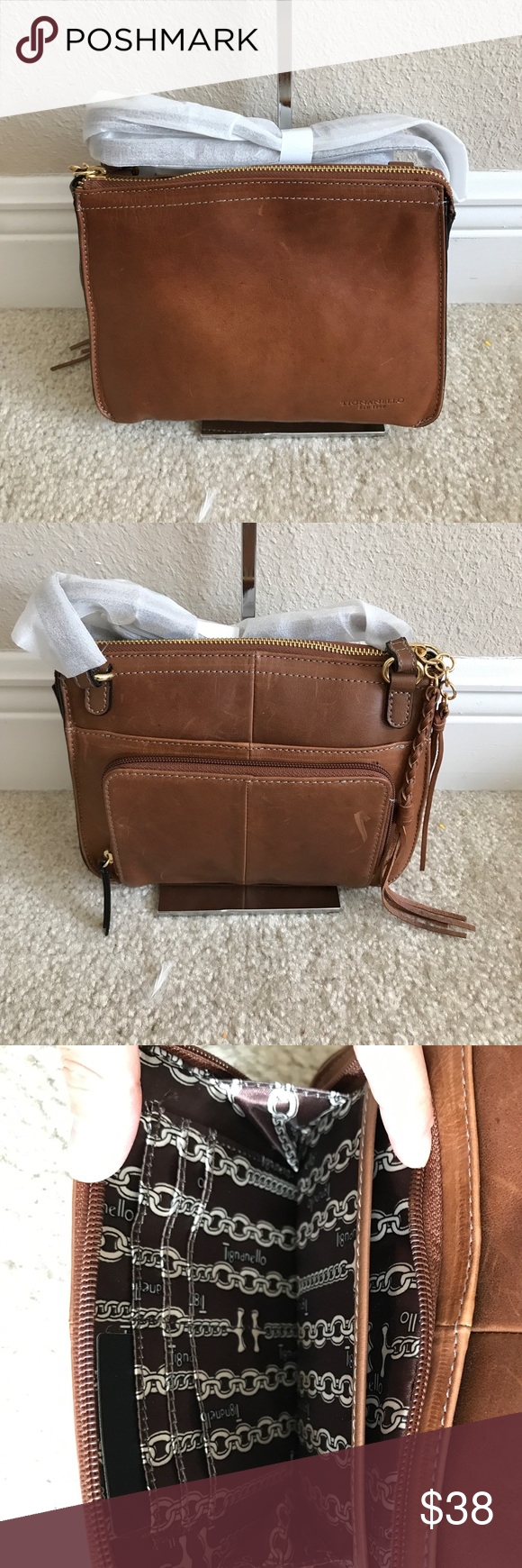 Tignanello Vintage Leather Crossbody Carson In Good Condition Has Some Scratches And Scuff Marks