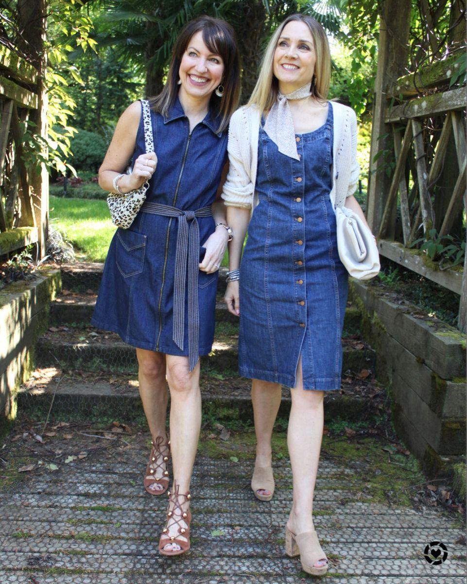 Styling Modern Denim Dresses Fashion Denim Dress Weekend Outfit [ 1200 x 961 Pixel ]