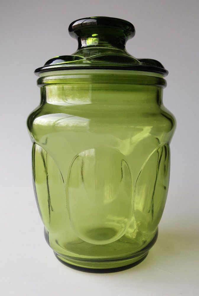 Vintage Glass Canister Olive Green Bubble Thumbprint