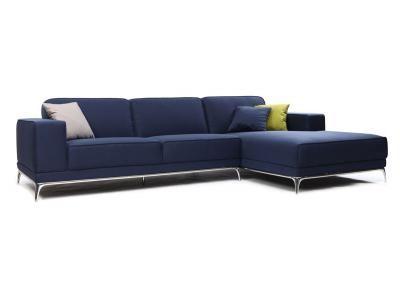 Canapé d angle design bleu 4 places angle droit ELMETT Zoom