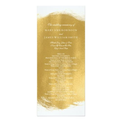 Wedding Program Gold Paint Look