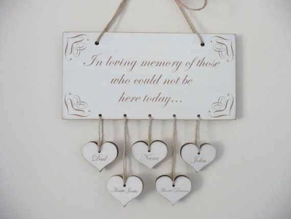 In Loving Memory Sign Personalised Wedding Remembrance by