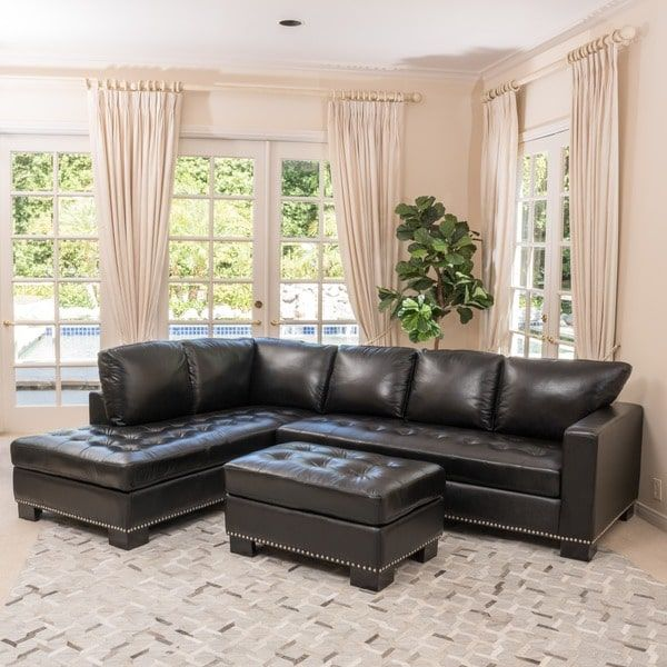 Lincoln Left Facing 3-piece Leather Sectional Sofa Set by ...