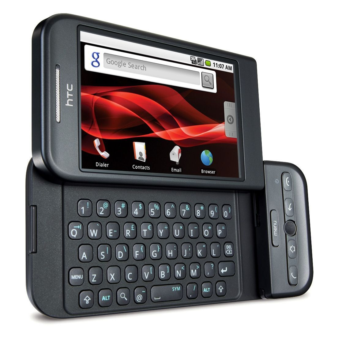 HTC manufactured a slideout QWERTY keyboard touchscreen