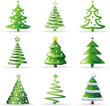 A Variety Of Cartoon Christmas Tree Vector Cartoon Christmas Tree Christmas Tree Collection Christmas Tree Images