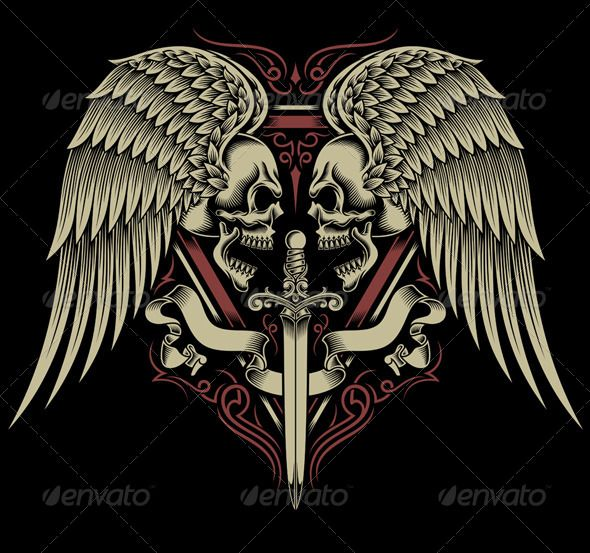 Two Faced Skull With Wings and Sword - Tattoos Vectors