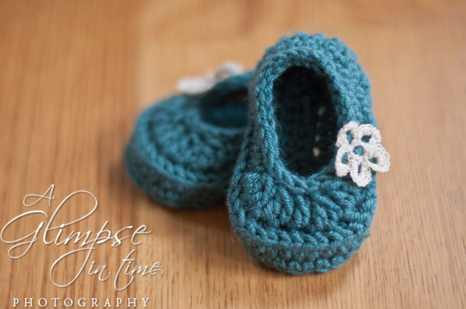 ea61c403a86f Hand Croched Baby Girl Booties Slippers with Dainty Crocheted Flower  Detail.  14.95