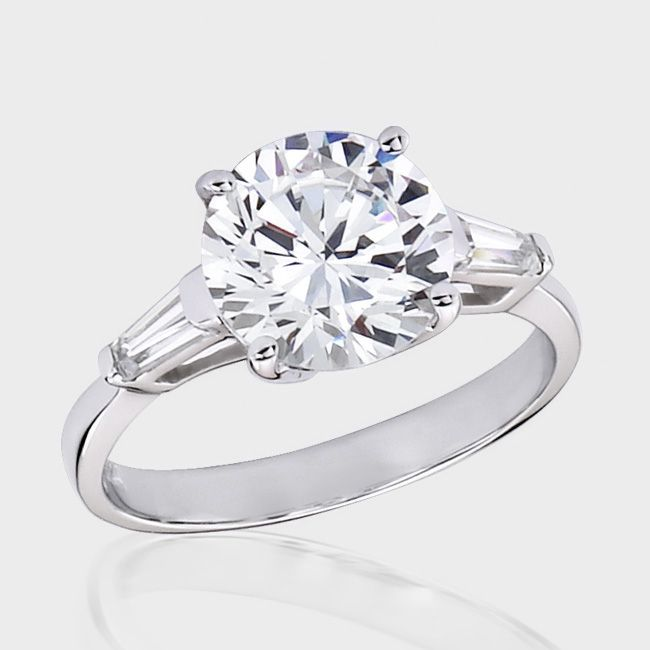 3.0 Ct. Round Baguette CZ Solitaire Engagement Ring ...