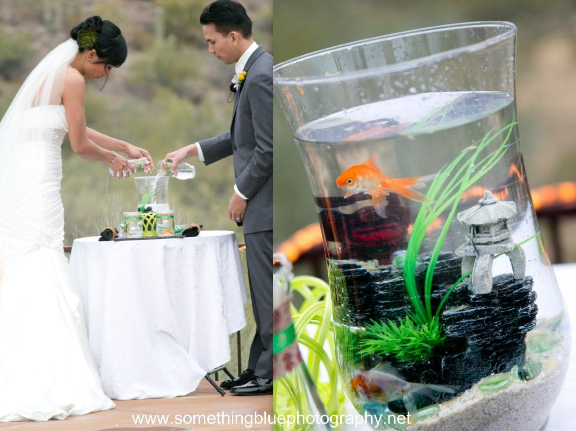 gold fish in vessel instead of sand ceremony. Unity idea for ...