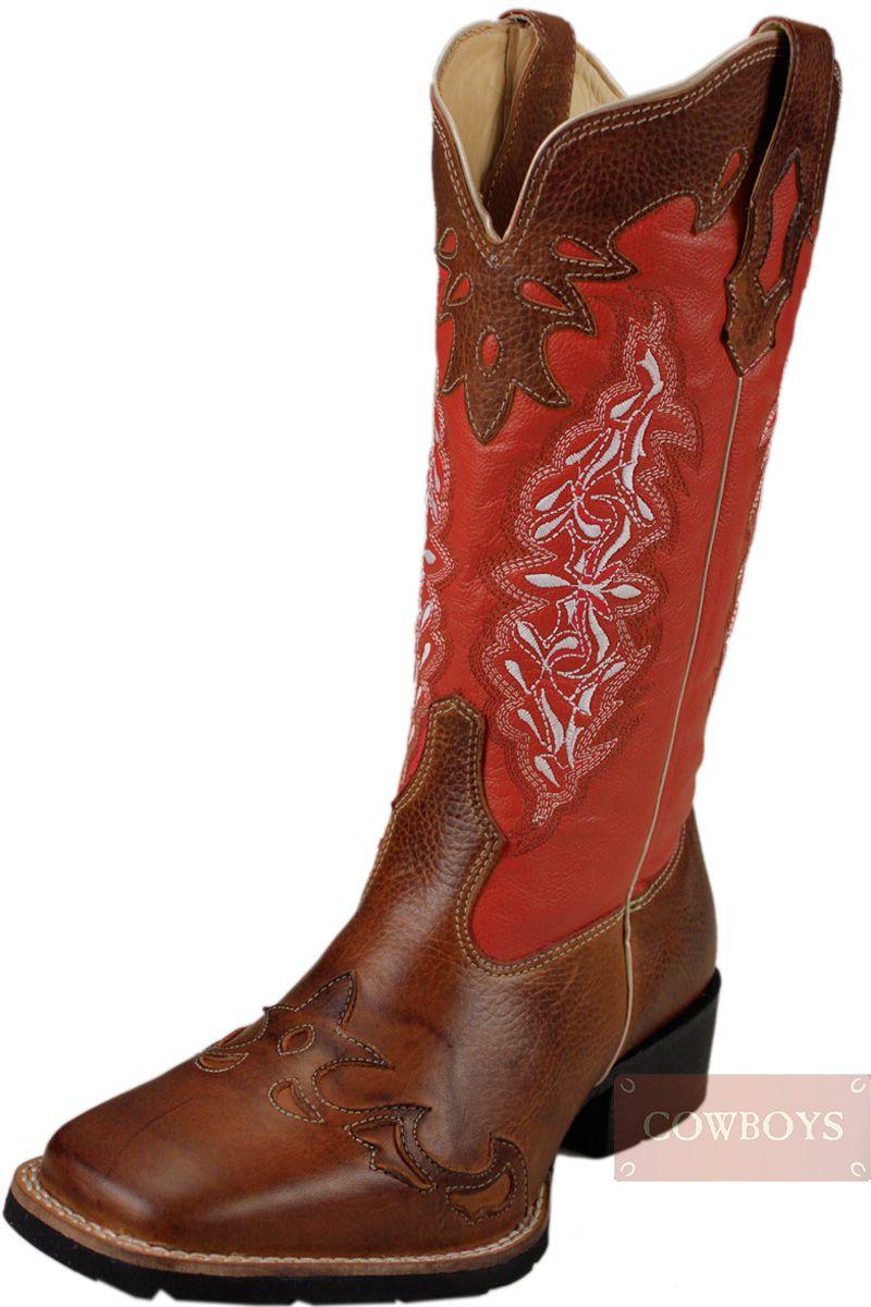 69db182a05 Bota Top Country Bico Quadrado Solado de Borracha Feminina Vermelha Bota  nacional Top Country, cano médio e solado em borracha confort flex, costura  dupla.