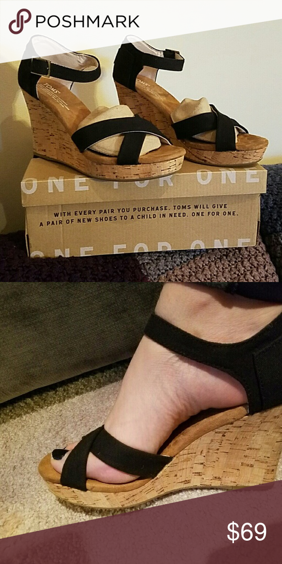 459c4526618 NWT- TOMS - Strappy Canvas Cork Wedge. TOMS for Women s strappy wedge black  canvas
