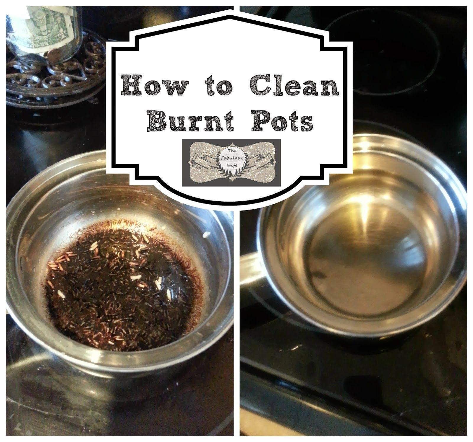 how to clean burnt porcelain pots