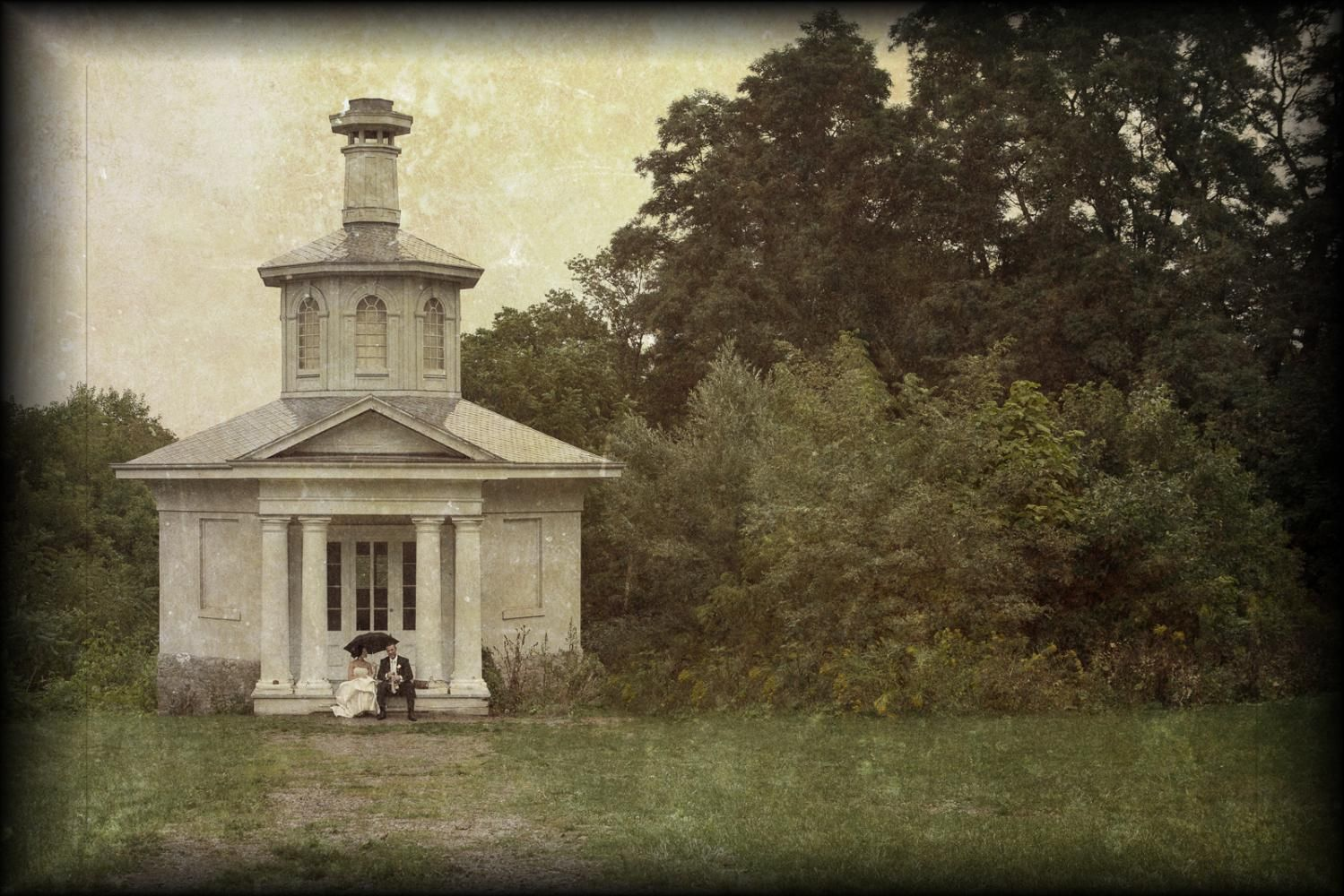 Brian Reilly Photography - Bride & groom share champagne and a private moment out front of beautiful old schoolhouse. Hamilton, Ont.