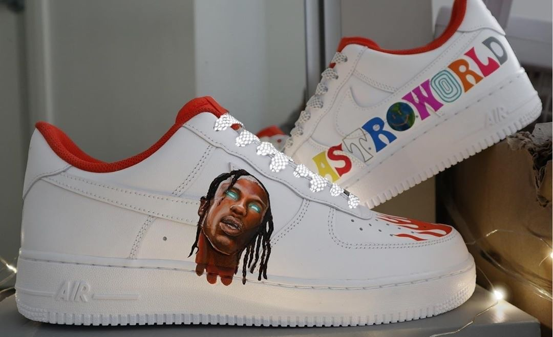 Astroworld Travis Scott Nike Air Force One Custom Sneaker Personalized Shoes Travis Scott Shoes Shoes Wallpaper