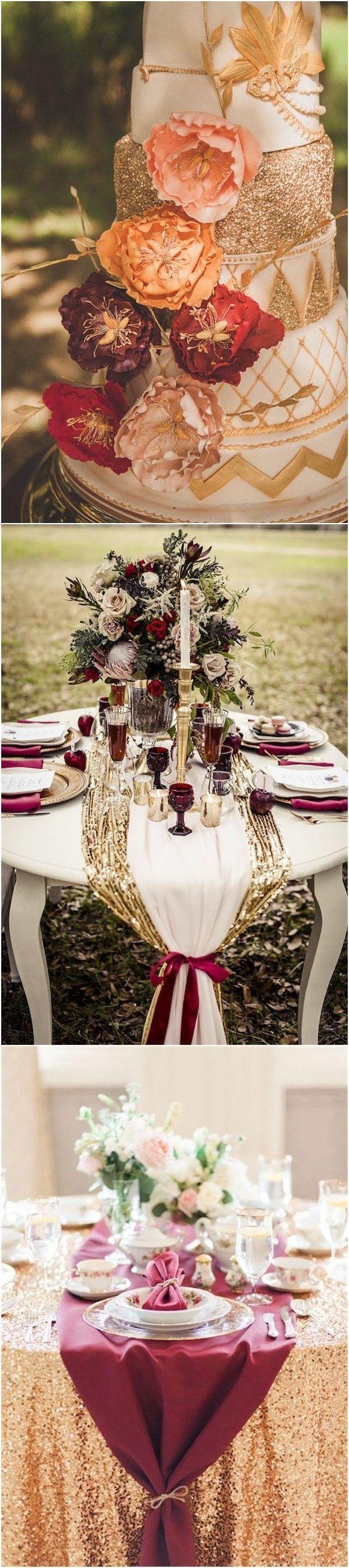 Wedding decoration ideas burgundy   Romantic Burgundy and Rose Gold Fall Wedding Ideas  Romantic