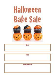 Halloween Bake Sale Poster  Bake Sale Posters    Sale