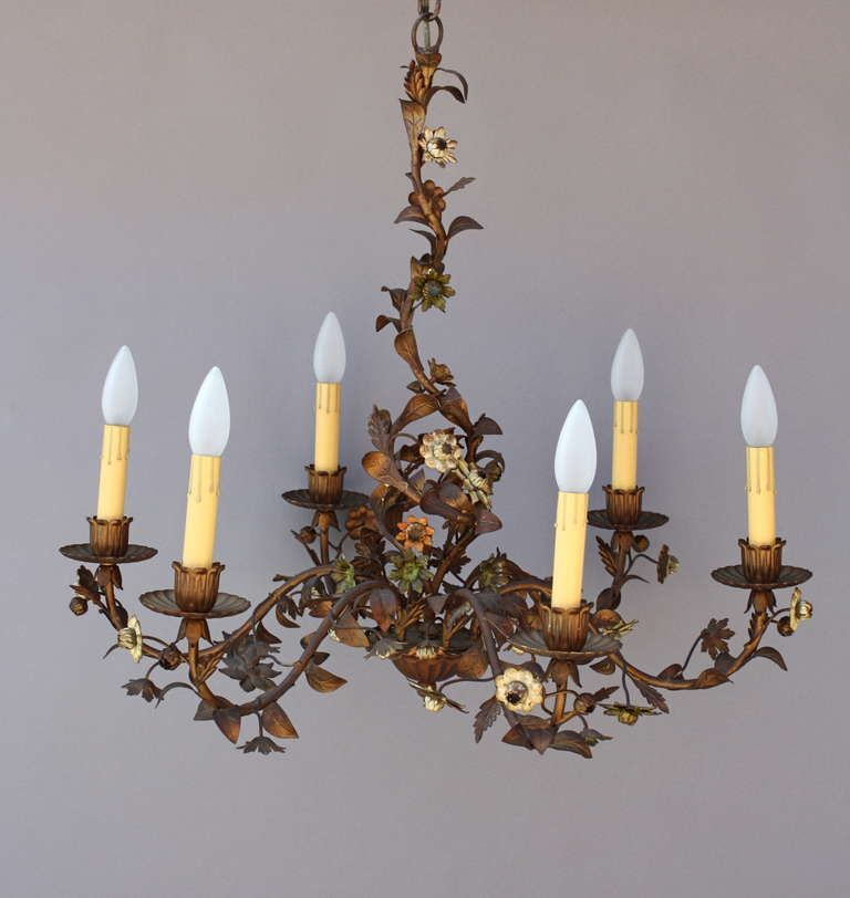 Antique Italian Tole Chandelier - Antique Italian Tole Chandelier Pendants, Chandeliers And