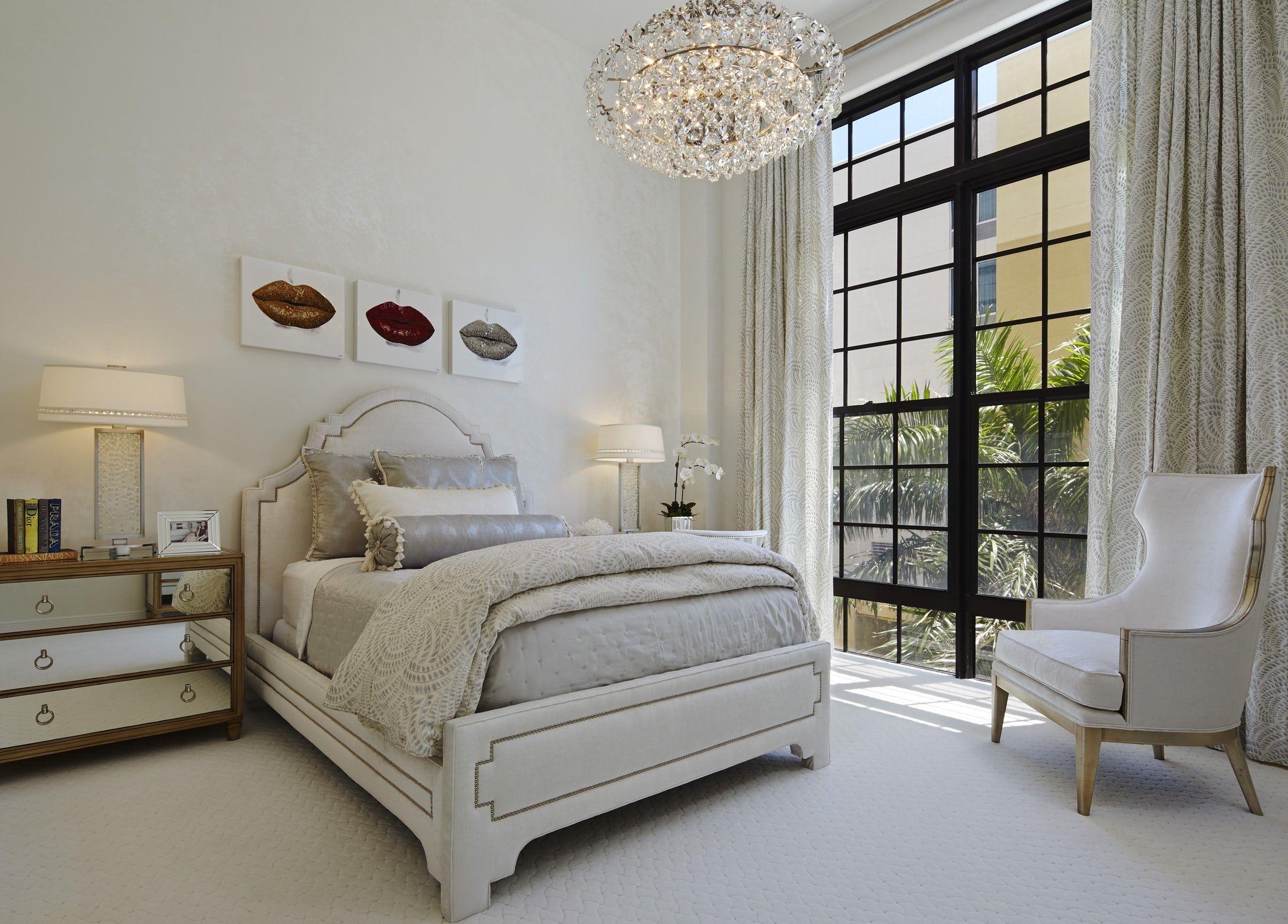 Urban loft bedroom  Palm Beach Urban Glamour Master Bedroom  Annie Santulli Interior