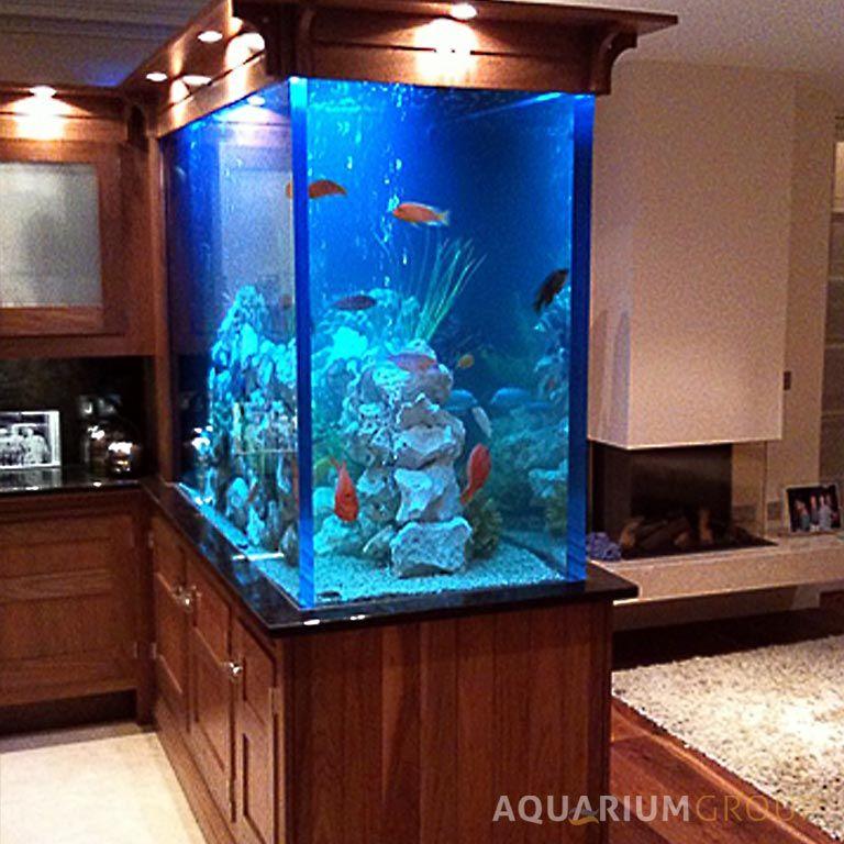 Kitchens with aquariums our hi end bespoke aquarium for Fish tank divider 75 gallon