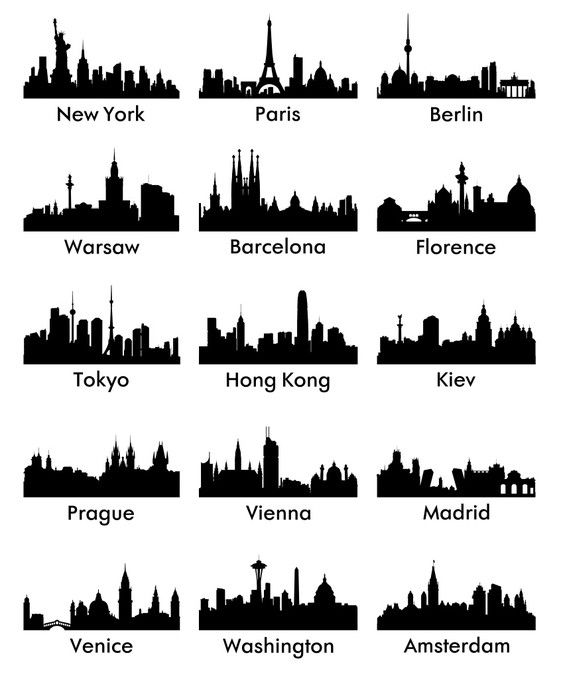 City Silhouette Vector 15 Vinyl Wall Mural Wall Decals City Skyline Silhouette City Silhouette Skyline Painting