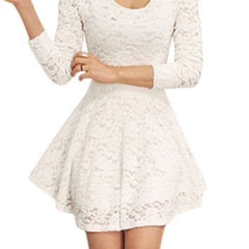 Women Scoop Neck Long Sleeves Casual Lace Skater Dress White S ...