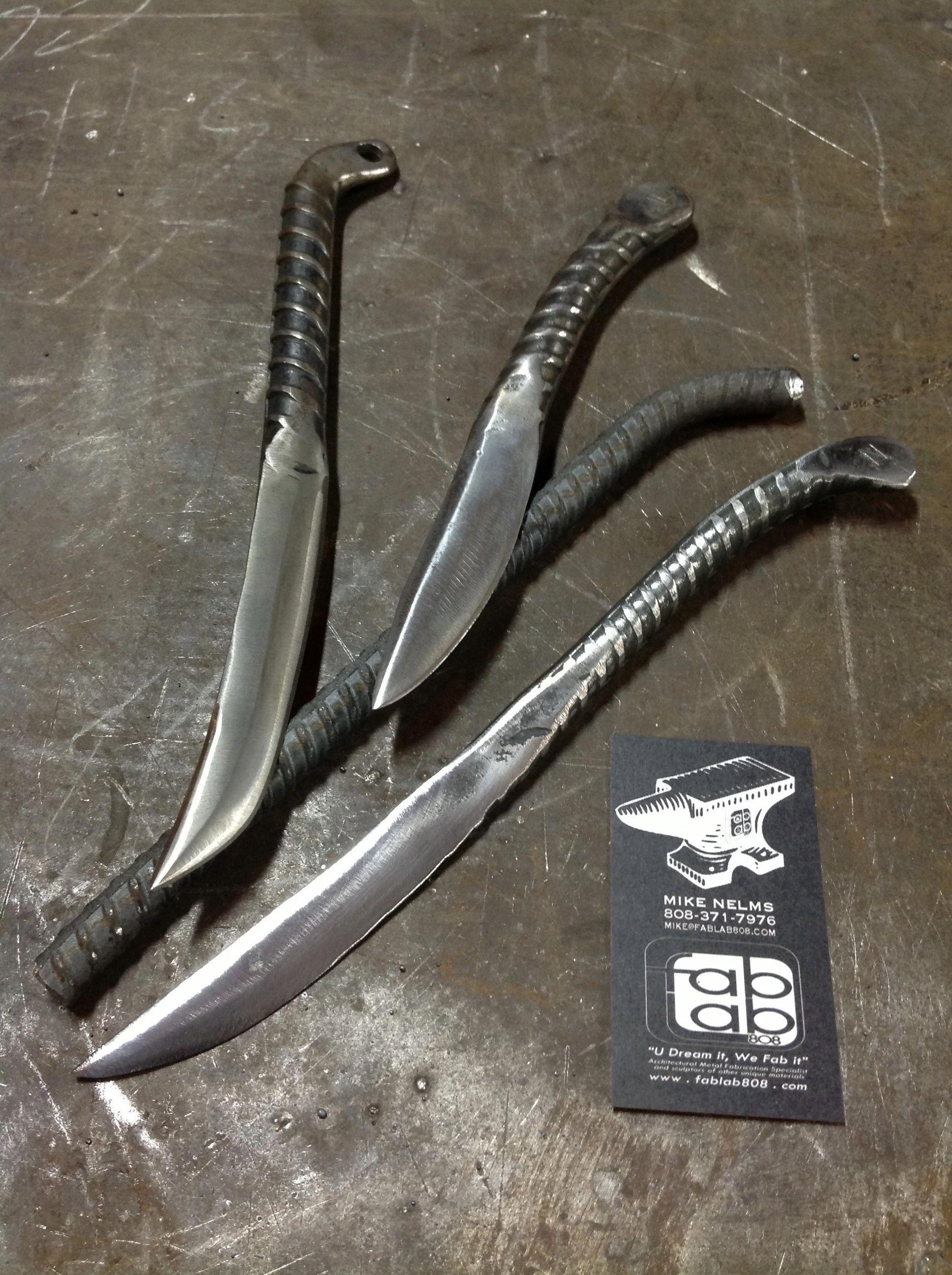 Hand rebar knives by fablab808 studios hawaii