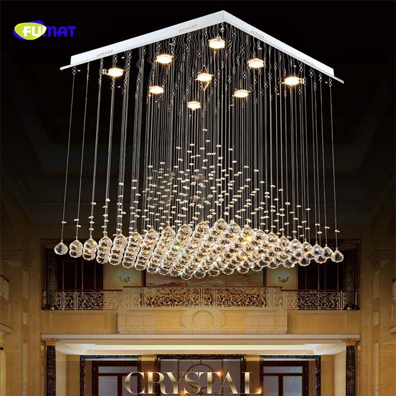 FUMAT K9 Crystal Chandelier Hotel Stair Crystal Lighting Fixture ...
