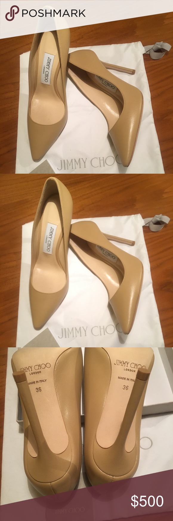 b1d693feda5d Never worn Jimmy Choo Romy 100 Nude KID size 36 The classic pointy toe pump  has