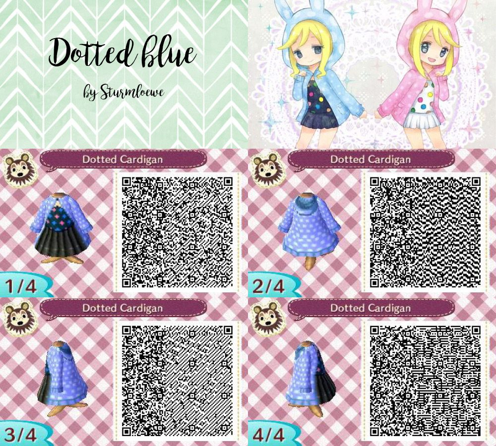 Black dress qr code - Animal Crossing New Leaf Qr Code Cute Blue Black White Dotted Dress With Hood Outfit Fashion