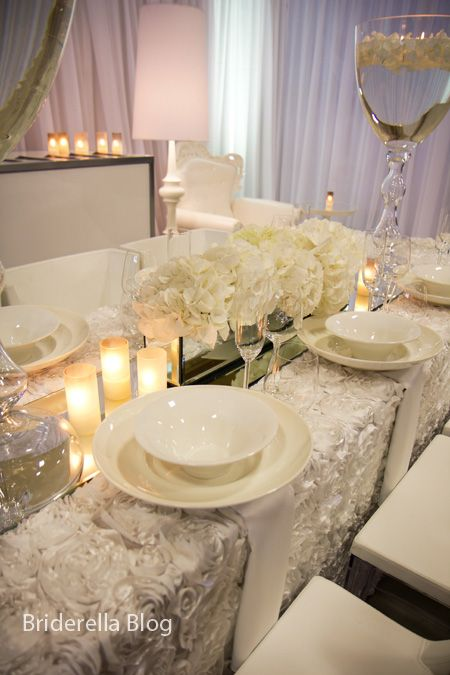Soo Dreamy Rosette Tablecloth Mirror Runner Id Love This For A Head Table Throw In Some Blue And I M Sold